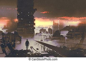 hombre estar de pie, ciencia ficción, ciudad, concepto, ...
