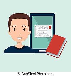 hombre, estudiante, tableta, libro, diploma