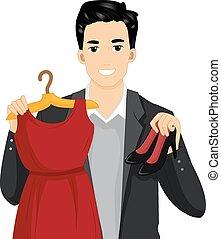 hombre, exposición, zapatos del vestido