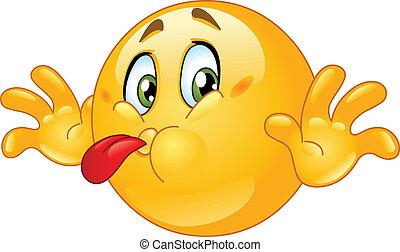 hombre fuera de lengua, emoticon