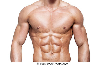 hombre fuerte, con, un, helathy, cuerpo, aislado, encima, fondo blanco