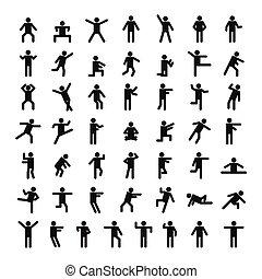 hombre, gente, palo, icono, conjunto, simple, estilo