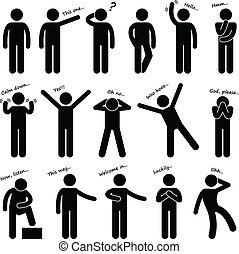 hombre, gente, postura, idioma cuerpo
