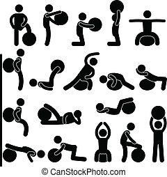 hombre, gimnasio, bola de la aptitud, entrenamiento