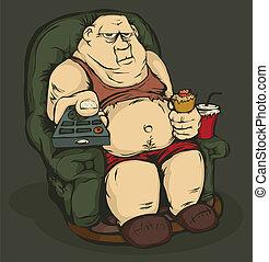hombre gordo, con, un, mando a distancia