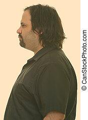 hombre gordo, perfil, caucásico, vista