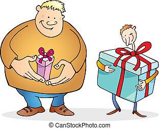 hombre grande, con, pequeño, regalo, y, delgado, tipo, con,...