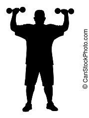 hombre, hacer, ejercicios