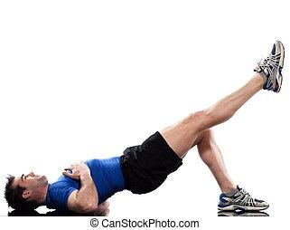 hombre, hacer, entrenamiento, postura