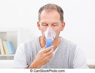 hombre, hacer, inhalación