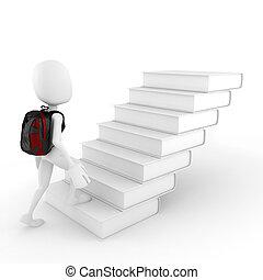 hombre hacer, libros, escalera, 3d