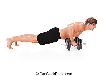 hombre, hacer, pushups