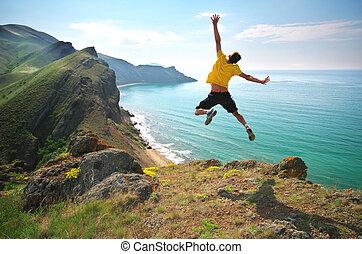 hombre, happines, salto