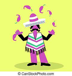hombre hispano, con, sombrero, y, grande, bigote, olay, con,...