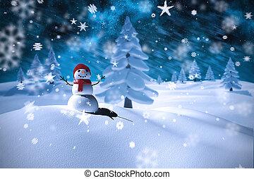 hombre, imagen compuesta, nieve