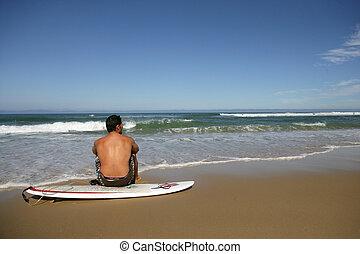 hombre, interrupción, de, surf