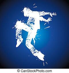 hombre, joven, bailando, cadera-salto