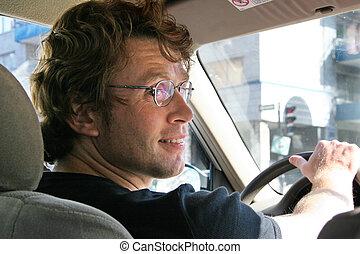 hombre, joven, conducción