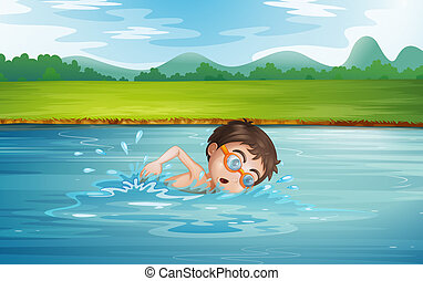 hombre, joven, natación