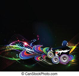 hombre, juego, melodías, dj