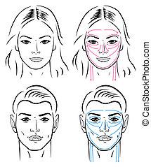 hombre, líneas, facial, masajear
