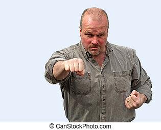 hombre, lanzamiento, enojado, punch.