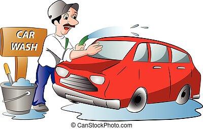 hombre, lavado, coche, ilustración, rojo