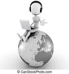 hombre, llamada, en línea, centro, 3d