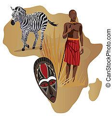 hombre, máscara, zebra, africano