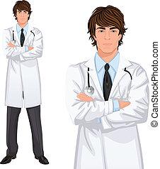 hombre, médico joven