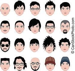 hombre, macho, cara, cabeza, pelo, peinado