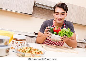 hombre, macho, cocinero, alimento que prepara, en, cocina
