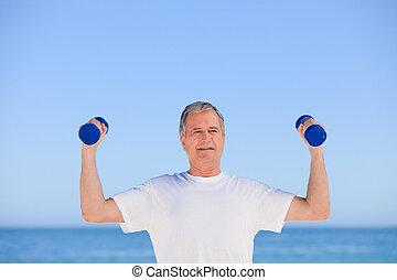 hombre maduro, hacer, el suyo, ejercicios