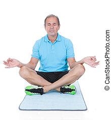 hombre maduro, hacer, yoga