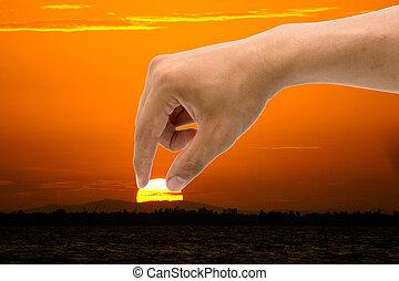 hombre, mano, eran, detenido, el, sun., el, idea, es, para adelgazar, global, warming.