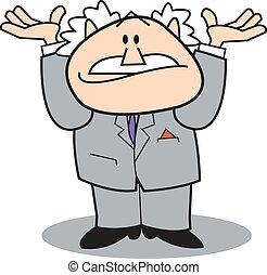 hombre, manos arriba, empresa / negocio, aire