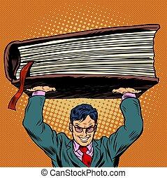 hombre, manos, libro, asideros, el suyo