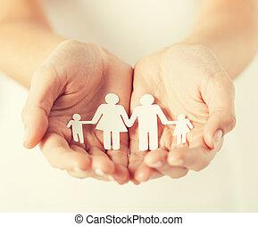 hombre, Manos, papel, familia,  Womans