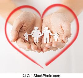 hombre, manos, papel, familia , womans