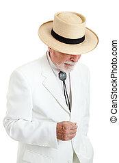 hombre mayor, en, blanco, traje, y, sombrero de panamá