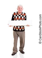hombre mayor, tenencia, panel blanco