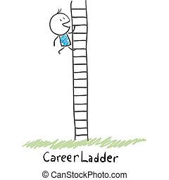 hombre montañismo, el, carrera, ladder., illustration.