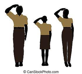 hombre, mujer, y, un, niño, silueta, en, militar, saludo, postura