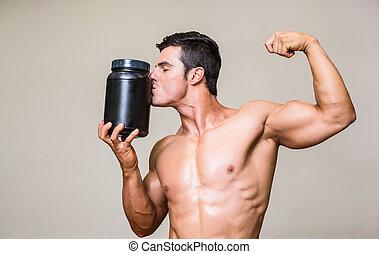 hombre, muscular, sobretasa nutritiva, besar