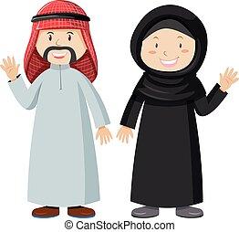 hombre, musulmán, mujer, juntos