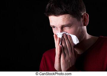 hombre, nariz líquida