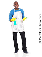 hombre norteamericano africano, tenencia, producto de la limpieza