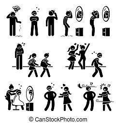 hombre, o, peluca, falsificación, palo, pelo, figuras, calvo, icons.