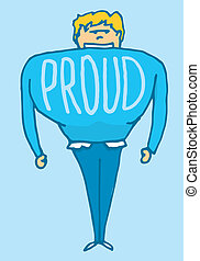 hombre, orgulloso, muy, sí mismo
