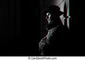hombre, oscuridad, retrato, impermeable, calle, noche, sombrero